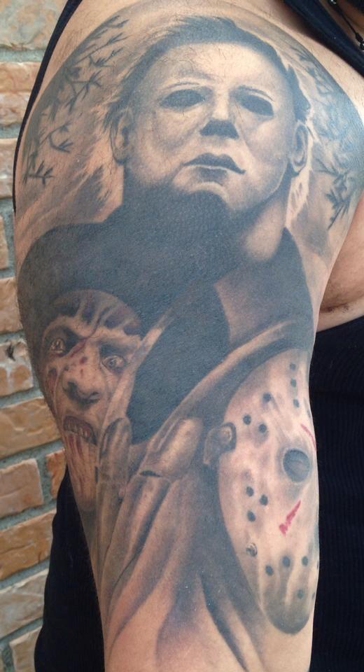 Grey Ink Fredy, Jason And Horror Tattoo On Half Sleeve