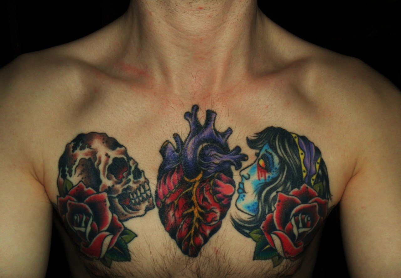 Kids Names Heart Tattoo On Chest