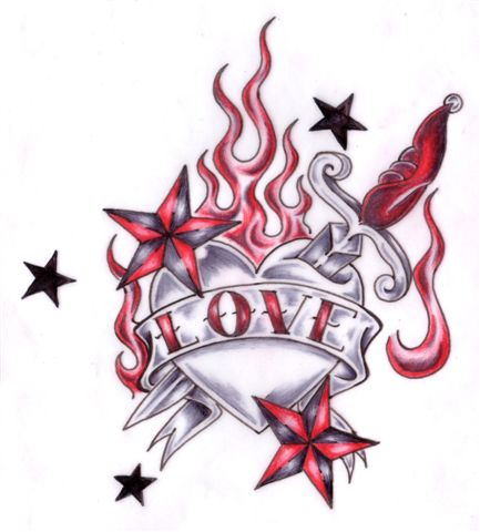 Tribal Heart With Banner Heart Tattoo Im...