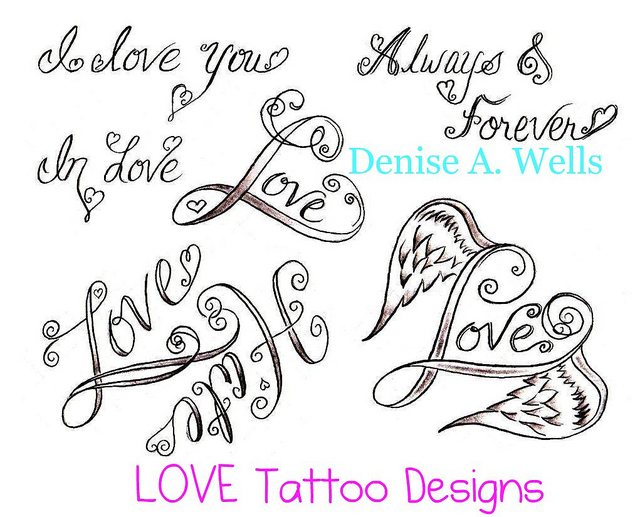 Love word and heart tattoo design for Love the design