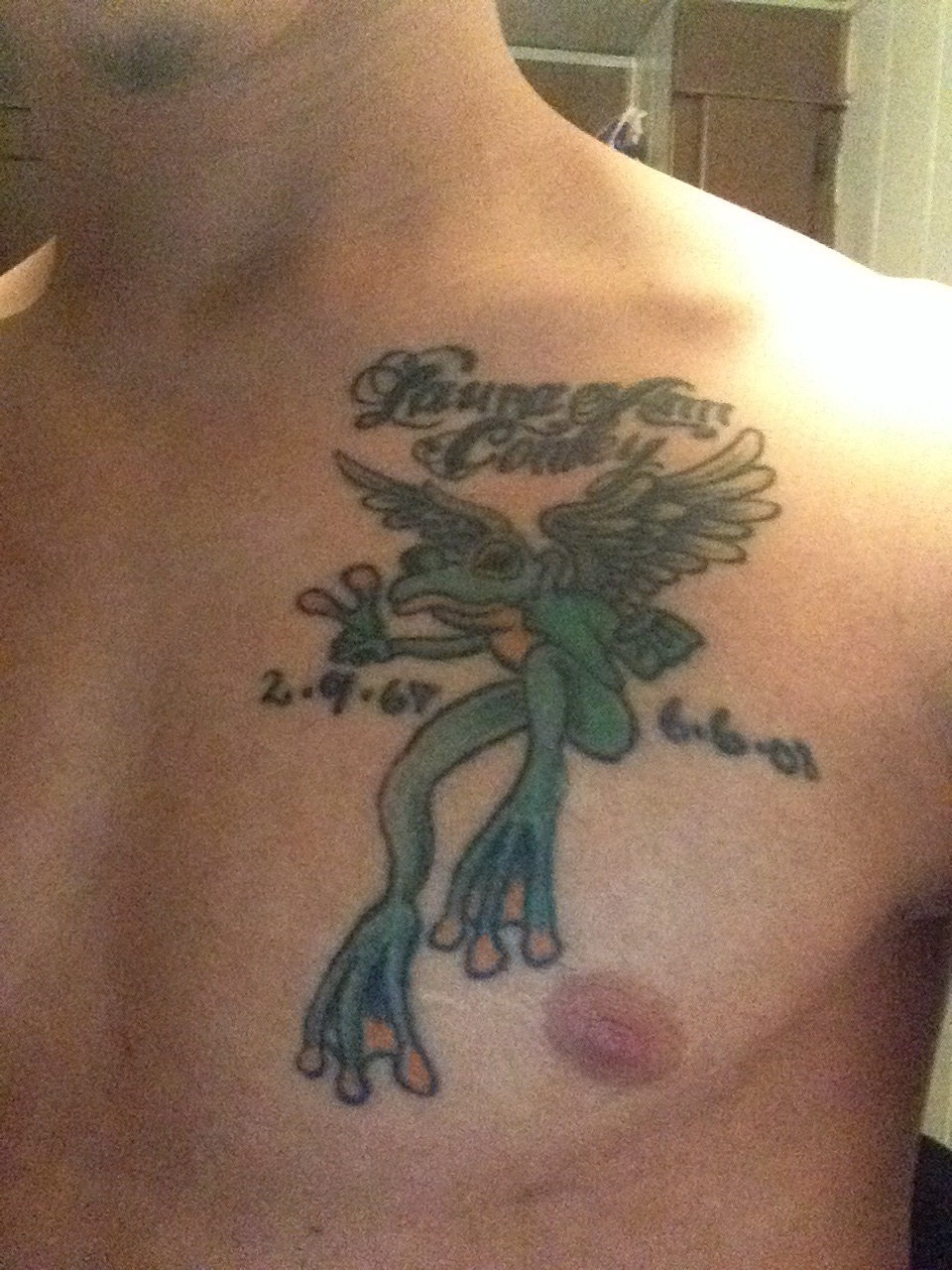 Memorial Frog Tattoo On Man Chest