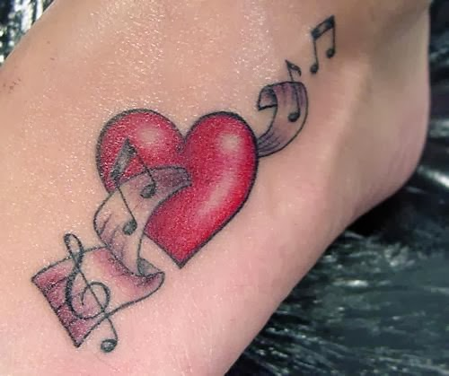 Music notes and red heart tattoo on foot for Pink heart tattoo