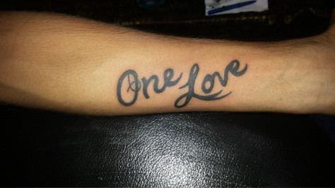 One Love Tattoo On Arm
