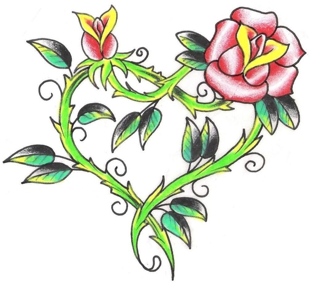 Pink Rose Heart Tattoo Design
