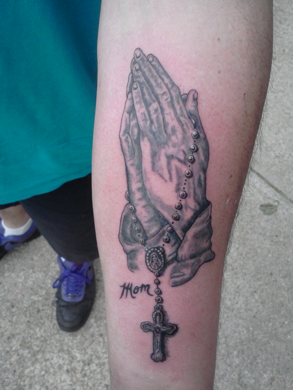 Praying Hands With Rosary Tattoo On Left Arm