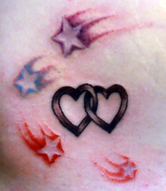 Colored Stars And Grey Hearts Tattoos
