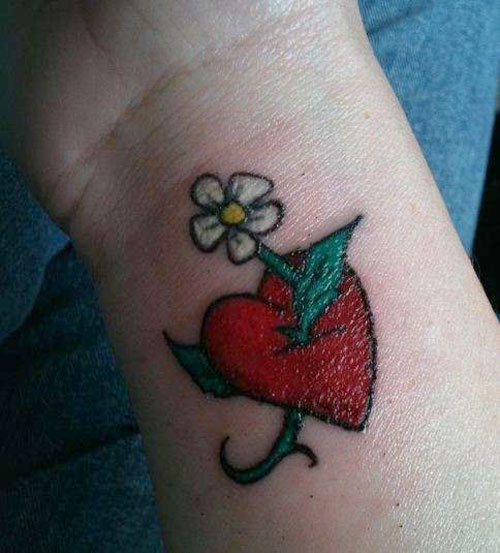 white flower and red heart tattoo on wrist. Black Bedroom Furniture Sets. Home Design Ideas