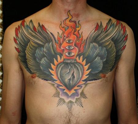 Winged Sacred Heart Tattoo On Shoulder