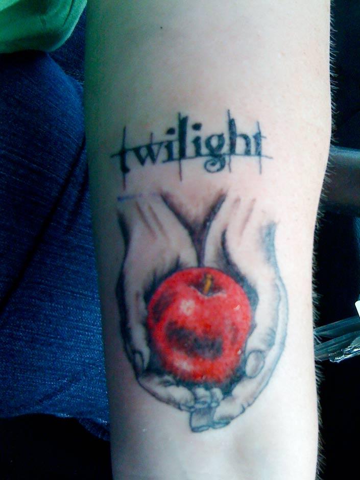 Twilight Apple Tattoo On Bicep