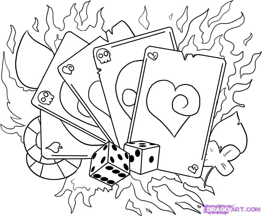 Dice And Flaming Cards Gambling Tattoo Design