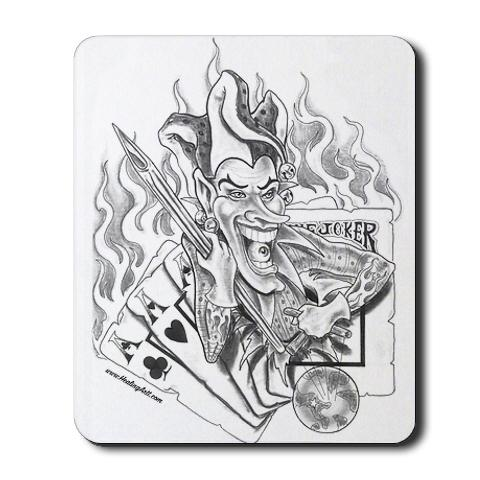 Flaming cards and joker tattoo design for Home by johker design