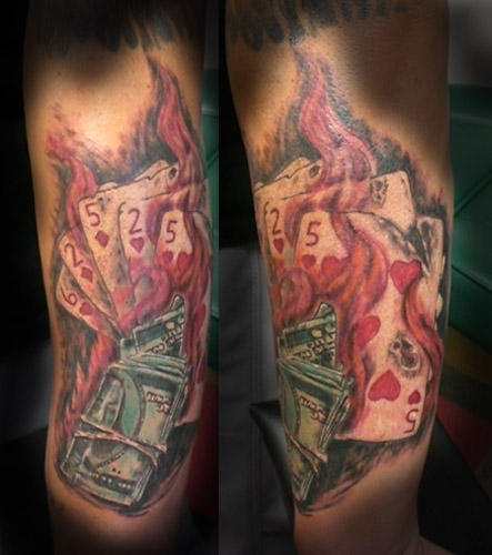 Gambling tattoo images designs for Money tattoo sleeve