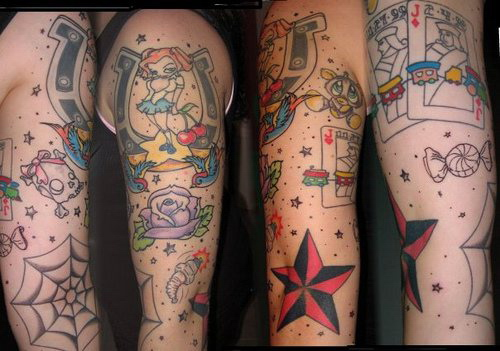 gambling tattoos on sleeve for men. Black Bedroom Furniture Sets. Home Design Ideas