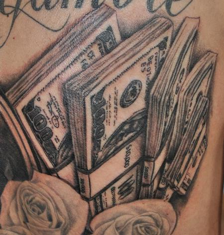grey ink gambling cash tattoo
