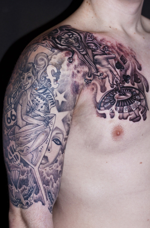 grey ink gambling tattoo on right half sleeve and chest. Black Bedroom Furniture Sets. Home Design Ideas