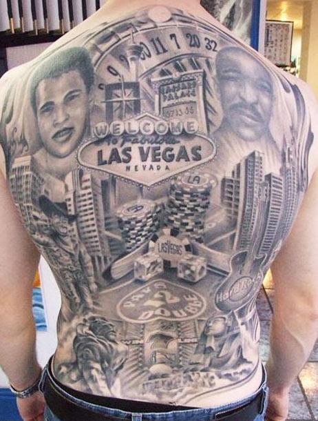 Grey ink lasvegas gambling tattoo on back body for Las vegas tattoo