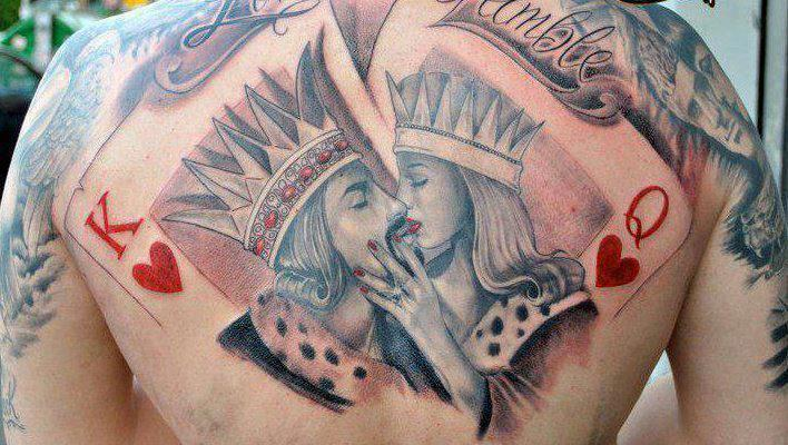 King Queen Gambling Tattoo On Back