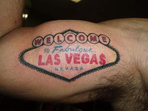Las vegas gambling tattoo on bicep for Las vegas tattoo
