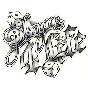 Play 4 Life Gambling Tattoo Design