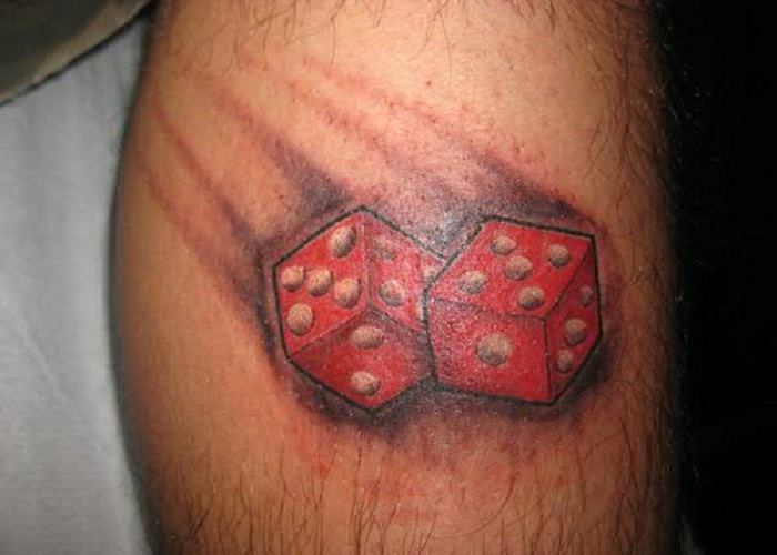Red Ink Dice Gambling Tattoo On Leg