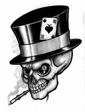 Smoking Skull With Hat Gambling Tattoo Design