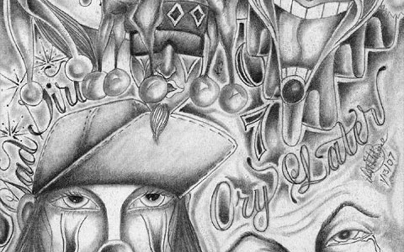 Amazing Grey Ink Clown Head Gangster Tattoo Design