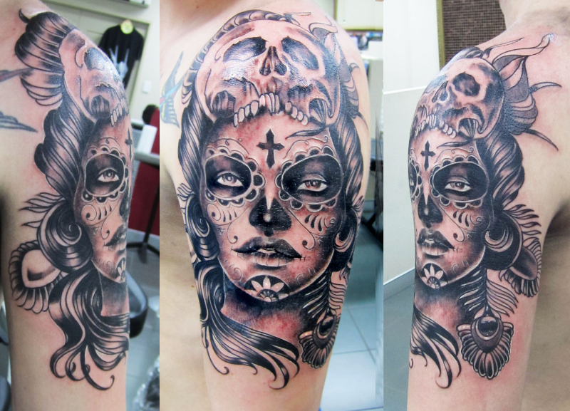 Amazing grey ink gangster girl head tattoo on shoulder for Girl head tattoo