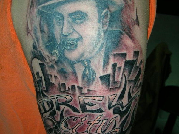 Color Ink Gangsta Tattoo On Right Thigh
