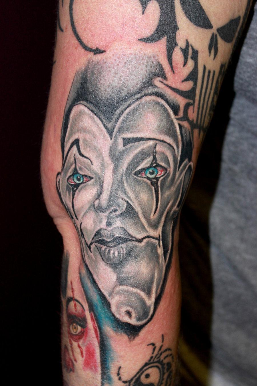 Gangster Clowns Tattoos: Creepy Gangster Tattoo On Right Sleeve