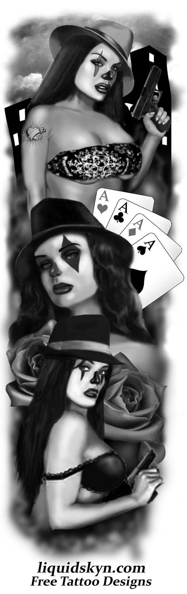 Gangsta Clown Girl Tattoo Design