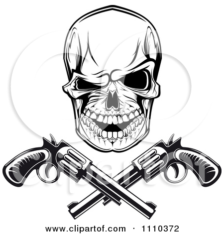 Gangsta Skull And Guns Tattoo Design