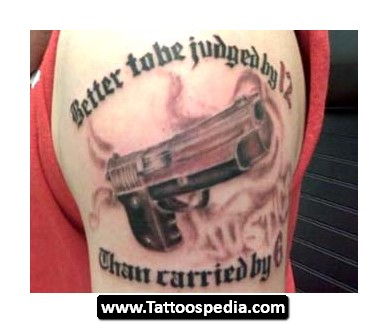 Gangsta Tattoo On Man Left SHoulder