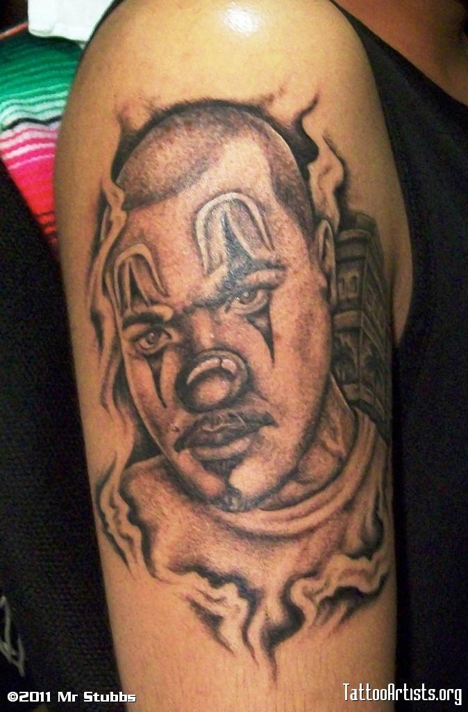 Gangster Clowns Tattoos: Grey Ink Clown Gangster Tattoo On Half Sleeve