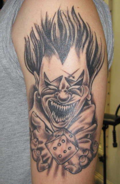 Gangster Clowns Tattoos: Grey Ink Clown Head Gangsta Tattoo On Left Half Sleeve