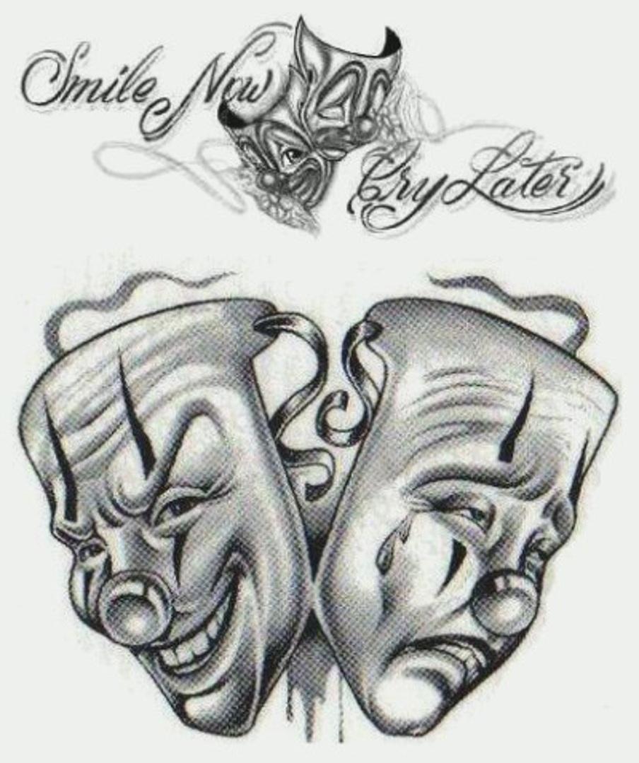 grey ink clown masks gangster tattoos design. Black Bedroom Furniture Sets. Home Design Ideas