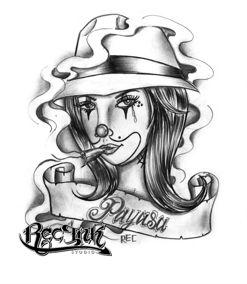 Grey Ink Gangsta Girl Tattoo Design