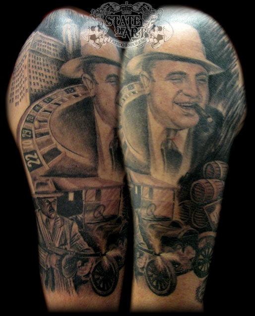 Grey Ink Half Sleeve Gangsta Tattoo