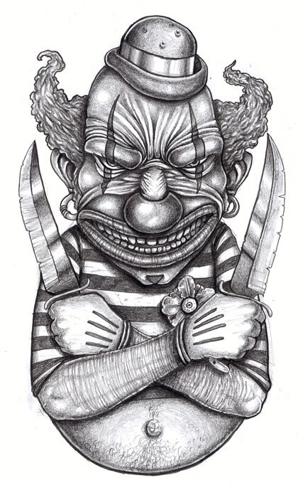 Killer Clown Tattoo Designs Killer Clown Gangsta Tattoo