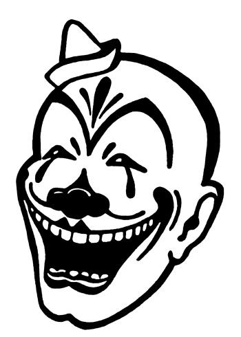 Outline Evil Clown Tattoo Design