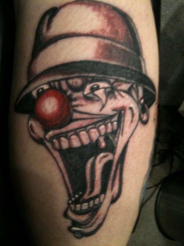Red Nose Joker Face Gangster Tattoo