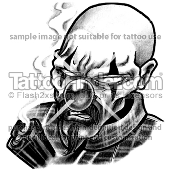 Smoking Gangster Tattoo Design