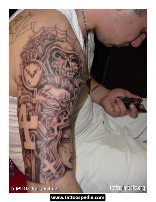 Stylish Gangsta Tattoo On Man Right Sleeve