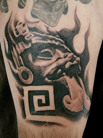 Tribal Gangsta Tattoo On Half Sleeve
