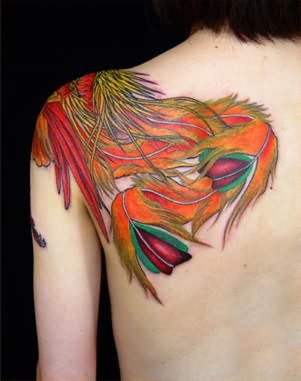 Colourful New Feather Tattoo On Back