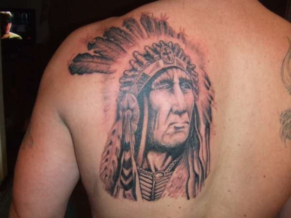 indian chief and feathers tattoo. Black Bedroom Furniture Sets. Home Design Ideas
