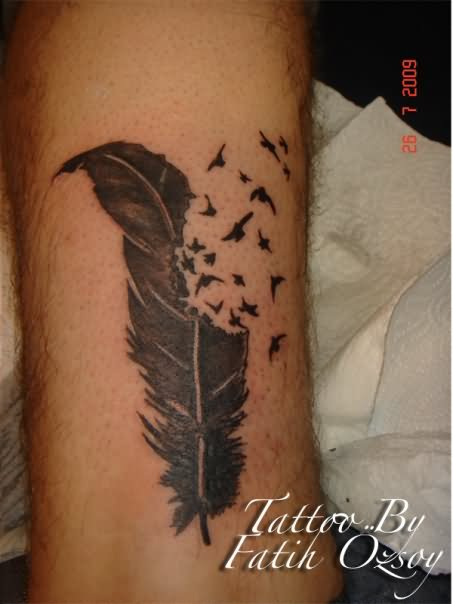Small birds Flying From Feather Tattoo