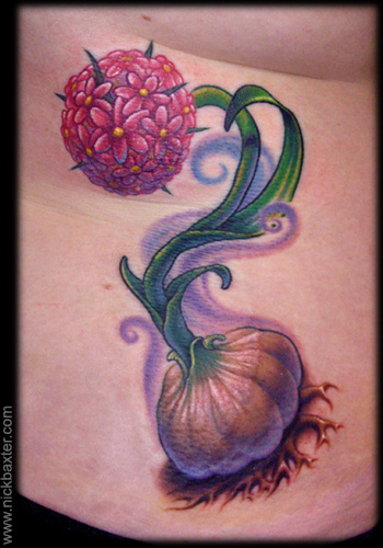 Color Ink Garlic Tattoo On Side