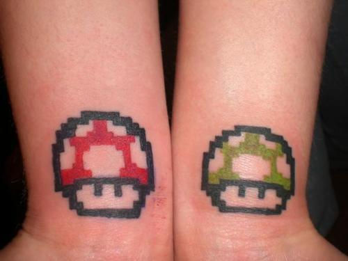 Colored Mario Mushrooms Geek Tattoos On Wrists