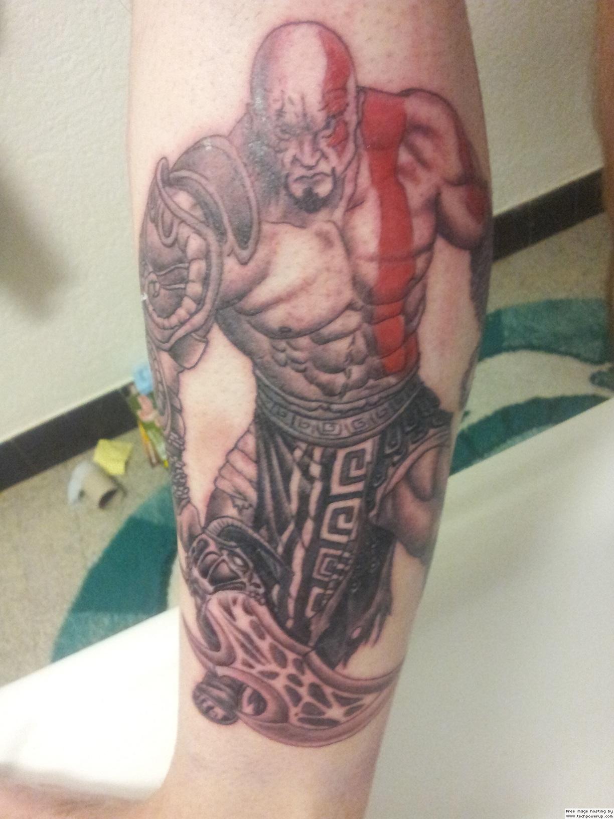 Grey Ink Geek Tattoo On Half Sleeve