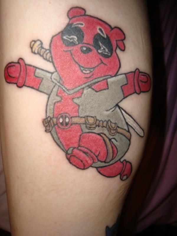 Red Ink Teddy Geek Tattoo